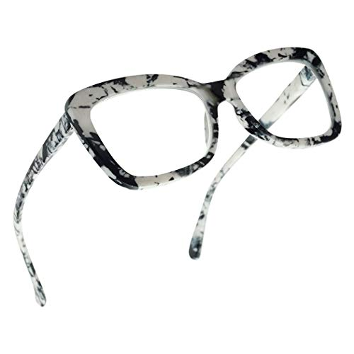 SunglassUP Chunky Square Classy Cat Eye Prescription Reading Glasses for Women Power +1.0 Thru +3.25 (Marble White, 1.25)