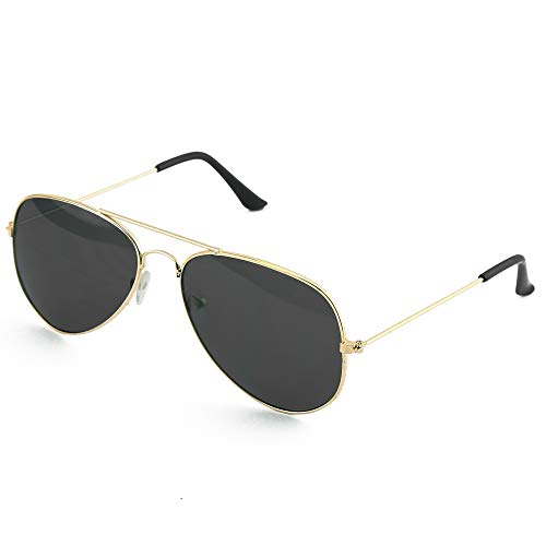 Skeleteen Black Gold Aviator Sunglasses - Military Style Dark Sun Glasses with Gold Metal Frame and UV 400 Protection (Military Aviator)