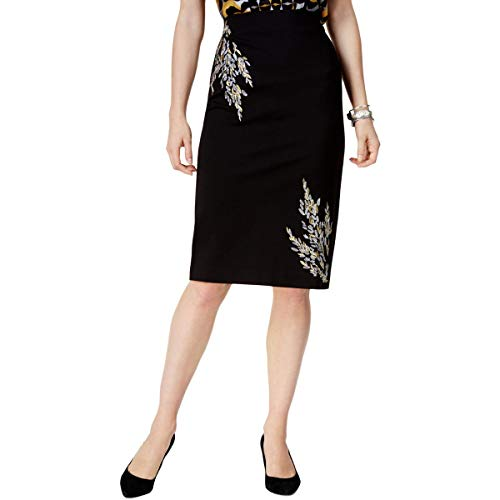 - Alfani Womens Embroidered Metallic Pencil Skirt Black S