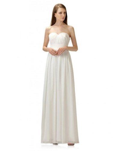 Etui Bodenlang Linie Ausschnitt Dearta Brautkleider Damen Herz Aermellos Weiß Chiffon Kleidungen Reissverschluss qtnt0xE