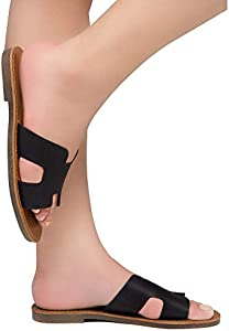 Shoe Land SL Greece Women's Open Toe Flat Sandals Slides