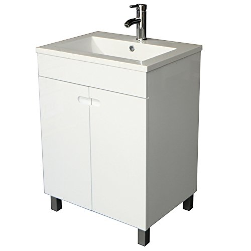 Cheap  Sliverylake 24 Inch Solid MDF Wood Cabinet Storage Bathroom Vanity Top Vessel..