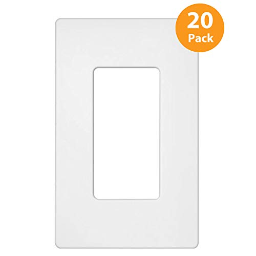 20 Pack - ELECTECK Screwless Wall Plate, 1-Gang Standard Size Decorative Outlet Cover/Switch Cover, Polycarbonate Thermoplastic, White