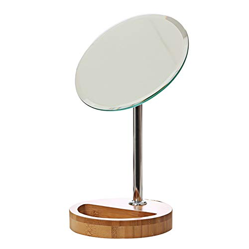 (OLI Makeup Mirror, Single-Sided Desktop Makeup Mirror, Ultra-High-Definition Portable Vanity Mirror, Bamboo Beauty Mirror, Rotatable, Bottom Storage Trinkets,A,Mirror)