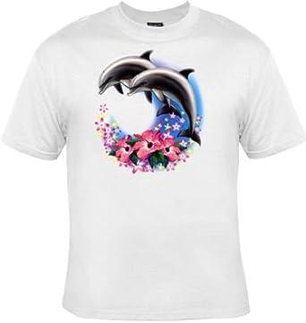 Hibiscus Dauphins Réf Shirt 111452 Patoutatis T Femme Blanc lKF1Jc