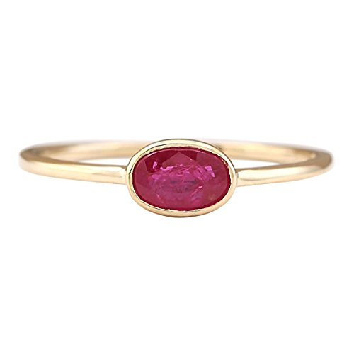 0.6 Carat Natural Red Ruby 14K Yellow Gold Solitaire Promise Ring for Women Exclusively Handcrafted in USA ()