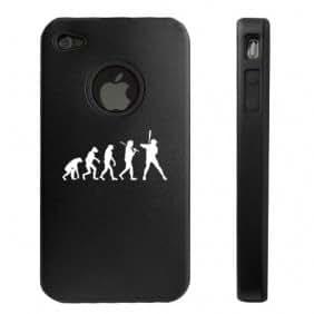 Apple iPhone 4 4S Black D5663 Aluminum & Silicone Case Cover Evolution Baseball