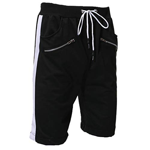 Bsjmlxg Men's Splicing Cotton Multi-Pocket Overalls Shorts Fashion Pant Training Running Sports Short Pants Black
