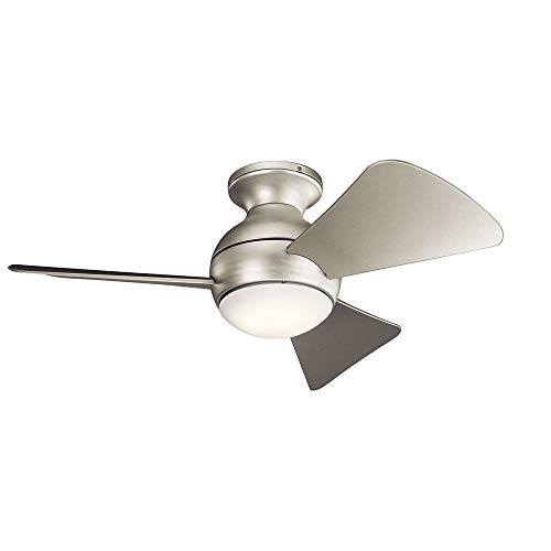 - KICHLER 330150NI Protruding Mount, 3 Silver Blades Ceiling fan with 67 watts light, Brushed Nickel