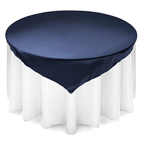 Lanns Linens Satin Wedding Table Overlay - Tablecloth Topper (72 Square - Navy Blue)