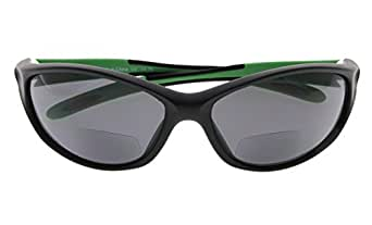 Bifocal Sports Sunglasses Baseball Running Fishing Reading Glasses For Men And Women Black Frame Green Arm +1.75