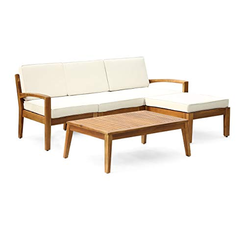 Grenada 3 Piece - Christopher Knight Home Grenada Outdoor 3-Seater Acacia Wood Frame Sectional Sofa Set with Water-Resistant Cushion by Teak + Beige Cushion