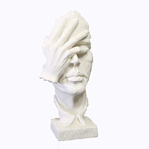 JSHN Creative Sandstone Statue Character Resin Sculpture European Style Abstract Statue Artwork Decoration for Indoor Living Room Study Office Crafts Statue Ornaments etc(White) (Statue European Art Sculpture)
