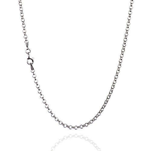 925 Sterling Silver 3.00 mm Round Rolo Chain Necklace with Pear Shape Clasp-Rhodium Finish ()