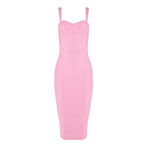 Light Calf Spaghetti Solid Bandage Pink Dress HLBandage Strap Midi Rayon Color zx5f5wpqU