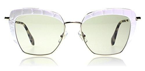Miu Miu MU52QS 7S35J2 White / Gold MU52QS Cats Eyes Sunglasses Lens Category - White Sunglasses Miu Miu