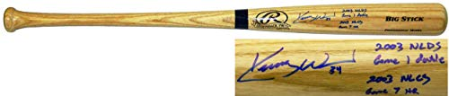 Kerry Wood Autographed Bat - Rawlings Blonde Big Stick w 2003 NLDS Game 1 Double 2003 NLCS Game 7 ()