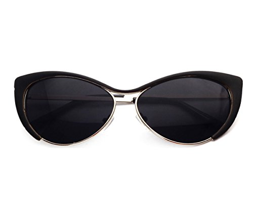 Heartisan Colorful Cat Eye Reflective Lens Full Rim Metal Frame Sunglasses - Havana 1950's Fashion