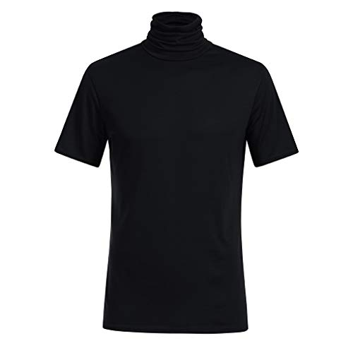 Sunhusing Men's Spring Summer Solid Color Turtleneck Short Sleeve T-Shirt Loose Cozy Blouse Tops (2XL, Black)