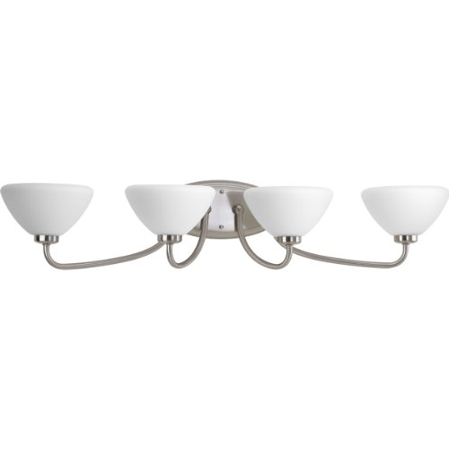 - Progress Lighting 94207309 4-Light Bath with Etched Opal Glass Shades, Brushed Nickel