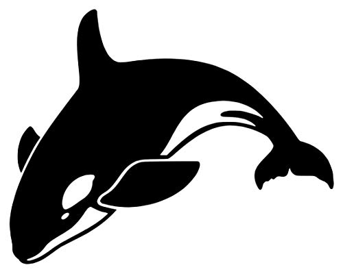 Orca Killer Whale [Pick Any Color] Vinyl Transfer Sticker Decal for Laptop/Car/Truck/Window/Bumper (3in x 2.4in (Laptop Size), Black)