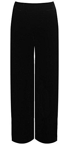 Rimi Hanger Womens Wide Leg Velour Velvet Palazzo Ladies Leg Pockets Fancy Party Trouser Black US 16-18 (Velvet Pants Washable Womens)