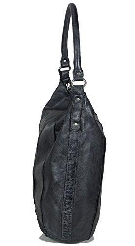 FREDsBRUDER Booster Damen Beuteltasche aus weichem Leder dunkelgrau (33 x 34 x 13 cm)