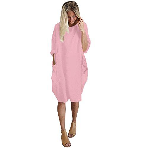 (Mlide Women Casual Loose V Neck Fit Half Sleeve Short Swing Tunic Shift Dress Pocket Crew Neck Long Top Dress,Pink XL)