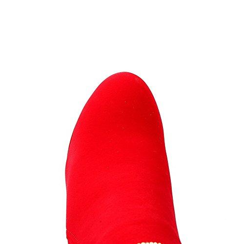 Con Rojo Tacón Sólido Baja Odomolor Ancho Redonda Cremalleras Diamante Puntera Caña Mujeres Botas xwxqvZA7