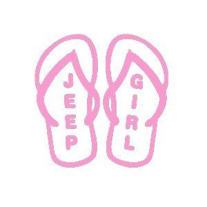 Amazon.com: YWS Vinyl Sticker Decal - Jeep Girl Flip Flops ...