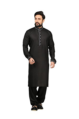 Da Facioun Mens Kurta Pajama Wedding Cotton Linen Black India Party Wear Set Of 3 by Da Facioun