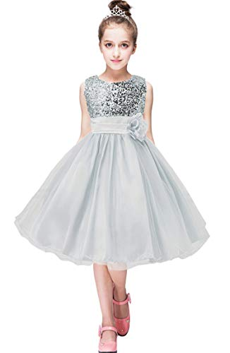 Price comparison product image BOFETA Girls Flower Girl Dress Floral Sequins Sleeveless Flower Sash Wedding,  Gray,  S