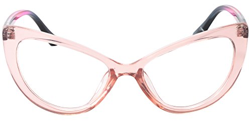 e5680d3cedd9 SOOLALA Womens Oversized Fashion Cat Eye Eyeglasses Frame Large Reading  Glasses, PinkTrans, 1.5D