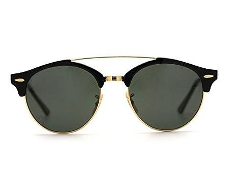 Occhiali da sole CLUBMASTER clubround stile rayban Nero e Oro tasca e panno offerte Ut5WW
