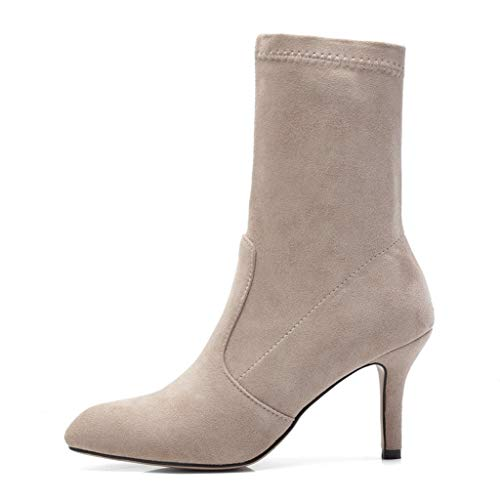 ASO-SLING Women's Stretch Fabric Sock Pull Up Mid Calf Bootie High Heel Casual Comfortable Walking Boot Beige
