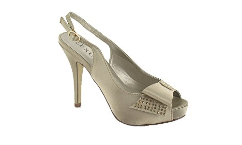 with any Slingback special Ladies Diamante's ideal Platform for occasion Taupe Encrusted 50wwCEq