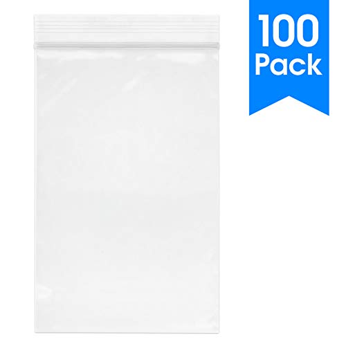 "Spartan Industrial – 6"" X 9"" (100 Count) Quart Clear Reclosable Zip Plastic Poly Bags with Resealable Lock Seal Zipper…"