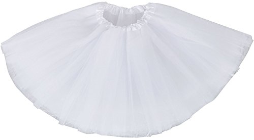 White Tutu Ballet Costume (Simplicity Girls Birthday Tutu Skirt Ballet Dance Tutu Dress for 2-8 Years,White)