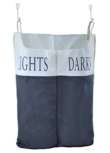 The Fine Living Company USA - Space Saving Lights and Darks Sorter Hanging Laundry Hamper Bag with Free Door Hooks by The Fine Living Company
