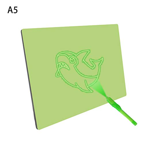 Yooha Fluorescent Drawing Board, Green Erasable Magic Writing Board Glow-in-Dark Graffiti Board Educational Learning Toy for Kids, Boys and Girls (A5)