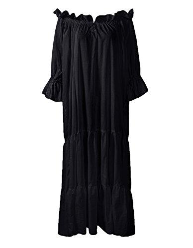 ReminisceBoutique Renaissance Medieval Dress Costume Classic Chemise Ruffled Tiered Peasant Sleeve (Regular, Black)