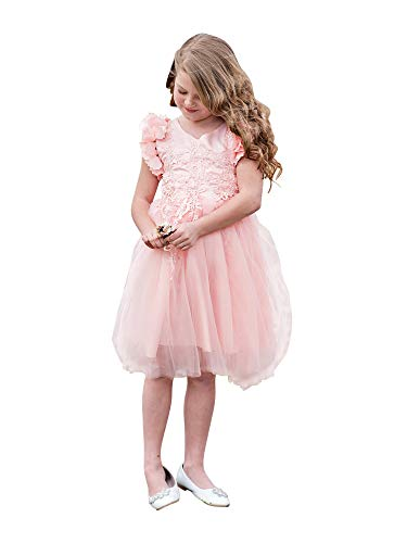 Just Couture Little Girls Light Pink Petal Sleeve Satin Lace Flower Girl Dress 2 from Just Couture