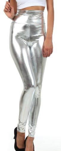 Sakkas Liquid2616 Shiny Liquid Metallic High Waist Stretch Leggings - Made in USA - Silver - -