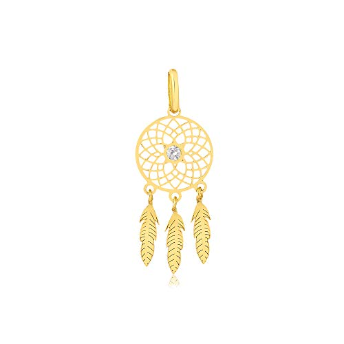 Carol Jewelry 18k Yellow Gold Dream Catcher Feather Synthetic White Cubic Zirconia Drop Pendant for Necklace
