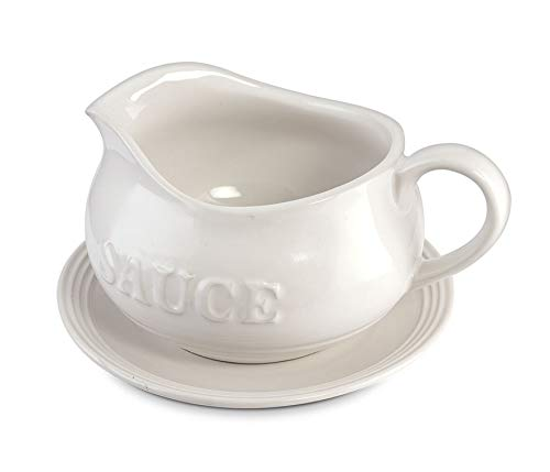 24 Oz Gravy Boat, Tray and Ladle | Ceramic White Gravy Boat With The Word''Sauce'' On It by Kovot (Image #2)