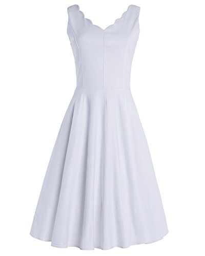 OUGES Womens Scalloped V-Neck Vintage Fit and Flare Cocktail Dress(White,M)