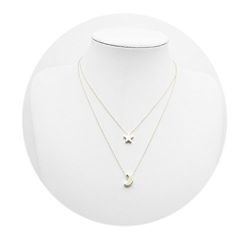 Romantic Star and Crescent Moon Double Layer Necklace for Women and Girl (Silver) Double Star Necklace