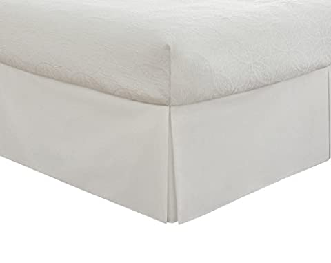 """Lux Hotel Bedding Tailored Bed Skirt, Classic 14"""" Drop Length, Pleated Styling, Twin, White (Bedskirt For Twin Bed)"""