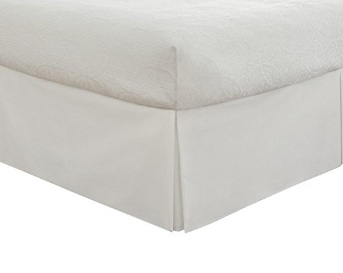 "(Lux Hotel Bedding Tailored Bed Skirt, Classic 14"" Drop Length, Pleated Styling, Full, White)"