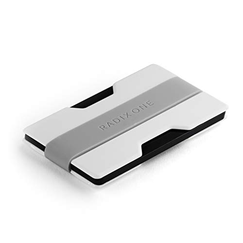 Radix One Slim Wallet (White/Gray) - Minimalist Ultralight Thin Polycarbonate Money Clip